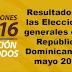 Resultados Elecciones generales de mayo 2016 Republica Dominicana