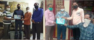 सरोज सोशल एंड वेलफेयर सोसायटी द्वारा संजय चौधरी एवं युसुफ बोहरा का किया सम्मान