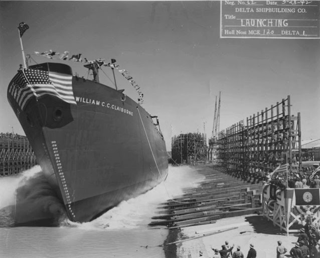 Liberty ship SS William C.C. Claiborne launched on 28 March 1942 worldwartwo.filminspector.com