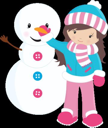 Clipart de Niñas Disfrutando de la Nieve.