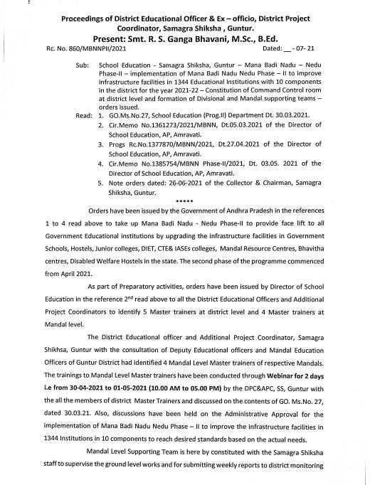 Guntur District - Mana Badi Nadu - Nedu Phase II | Mandal, Divisional, District Level Teams