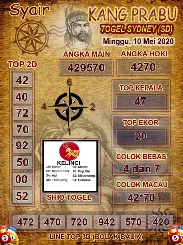 Prediksi Togel Sidney Minggu 10 Mei 2020 - Syair Kang Prabu