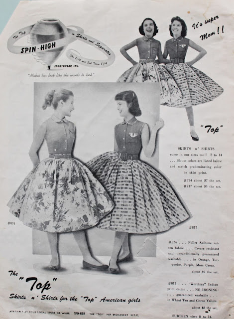 1950s teen fashion magazine summer novelty print retro skirt