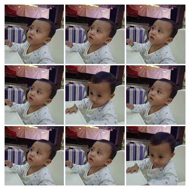 gambar gelagat bayi perempuan 8 bulan 20 hari semasa makan di kedai makan duduk atas bangku kanak-kanak