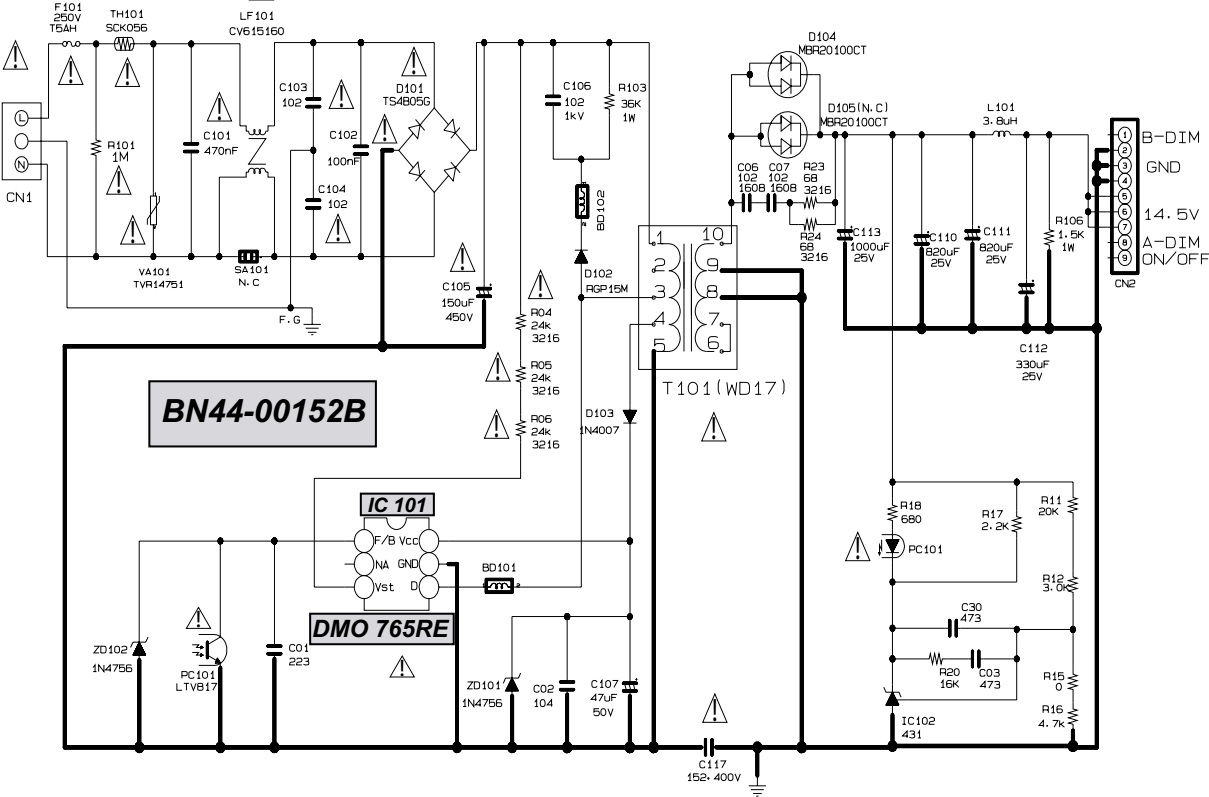 bn44 00152b samsung un40h5203  samsung le32r87bd lcd tvs smps power supply schematic