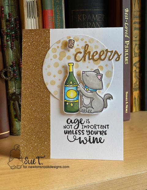 Cheers by Sue features Wine A Little, Newton Loves Cake, Bubbly Stencil, and Cocktail Mixer by Newton's Nook Designs; #newtonsnook