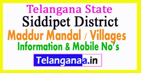 Siddipet District Maddur Mandal Village in Telangana State