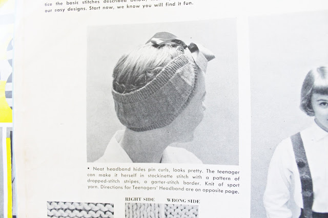 free 1950s pin curl scarf knitting pattern