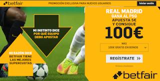 betfair supercuota Real Madrid gana a PSG 18 septiembre 2019