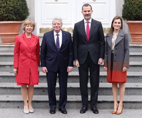 Queen Letizia wore Hugo Boss Colorina Wool Blend Cashmere Striped Coat and Boss Malivi Wool Blend Cashmere Striped Skirt, Uterque high heel shoes