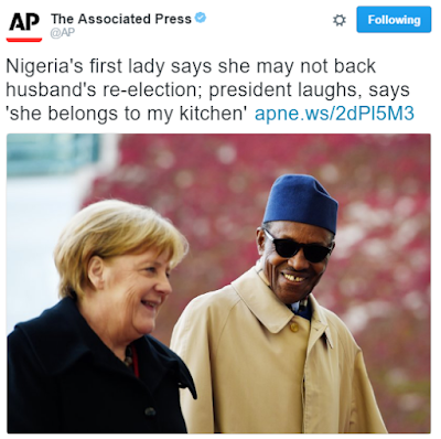 "1 Nigerians react to Buhari's comment that his wife ""belongs to the kitchen, living room"" news"