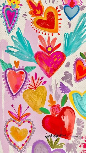 fondo de pintura de corazones para celulares