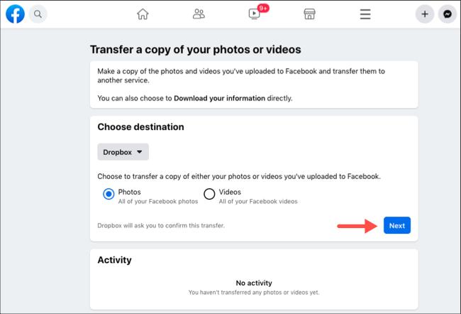 انقل صور أو مقاطع فيديو Facebook