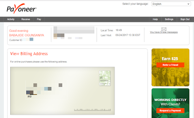 payoneer mastercard billing address for online shopping