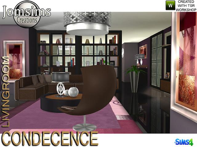Condecence living room Condecence гостиная для The Sims 4 Здесь современность, комфорт и приятная мебель, с Condecence в гостиной. 2 дивана для создания уголка. 1 журнальный столик. 1 кресло. картины. потолочный светильник. 2 мебели. магазин декора для мебели1. подушки для дивана. книги деко. 3 вазы деко. 15 новых современных предметов для ваших симов. Автор: jomsims