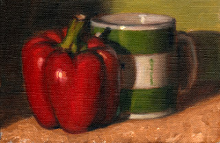 Oil painting of a red pepper beside a green and white Penguin-branded coffee mug.