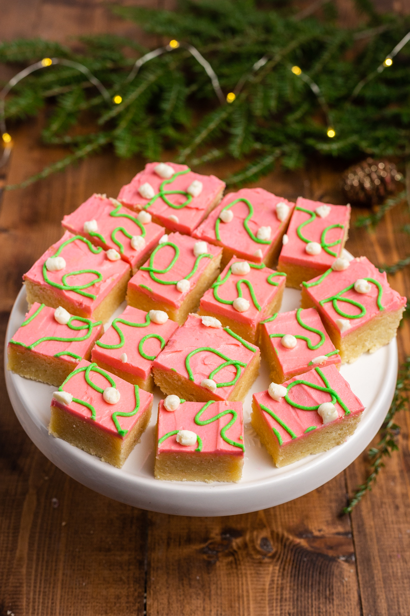 Close up photo of Keto Sugar Cookie Bars on a serving platter.