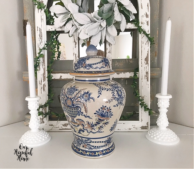 chinoiserie ginger jar milk glass candlesticks
