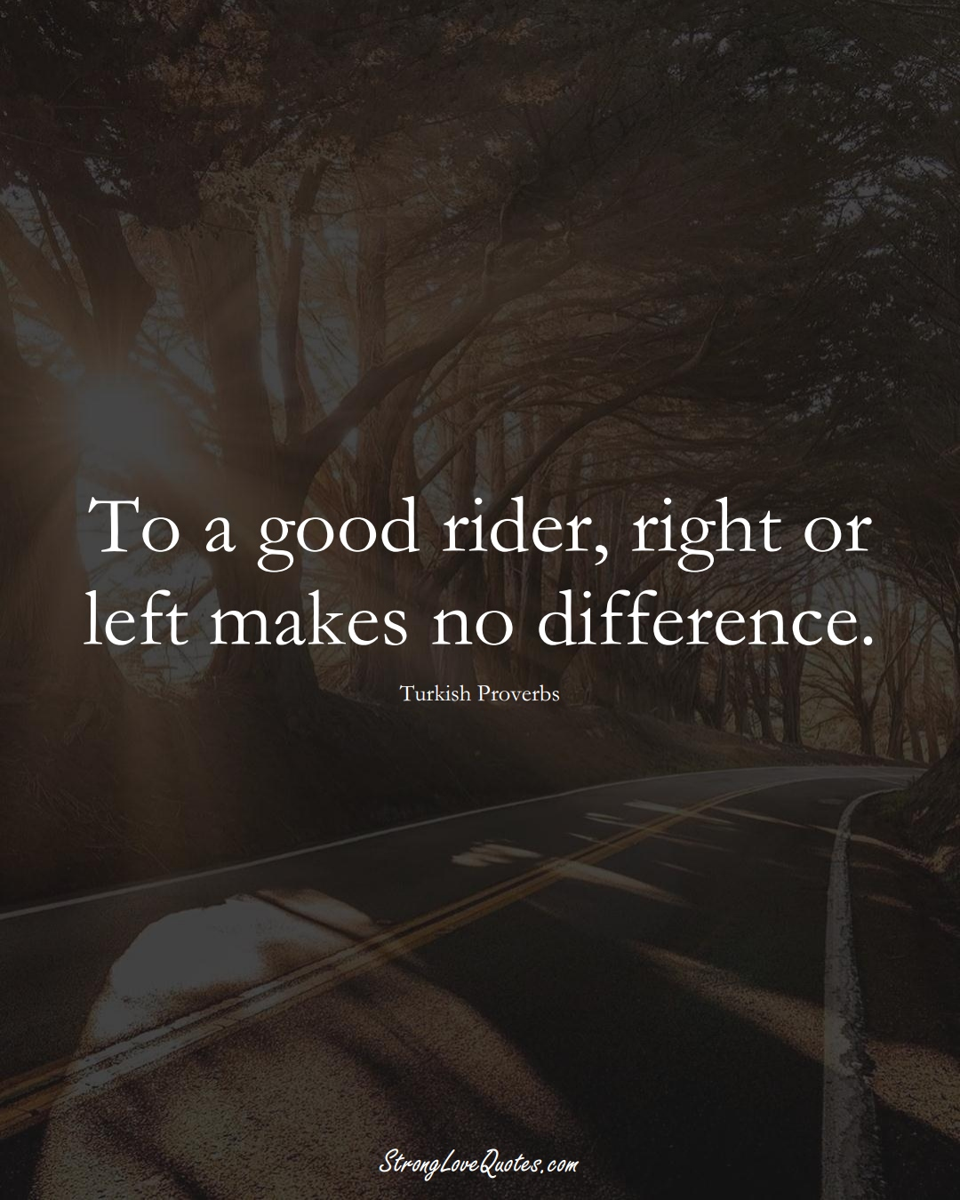 To a good rider, right or left makes no difference. (Turkish Sayings);  #MiddleEasternSayings