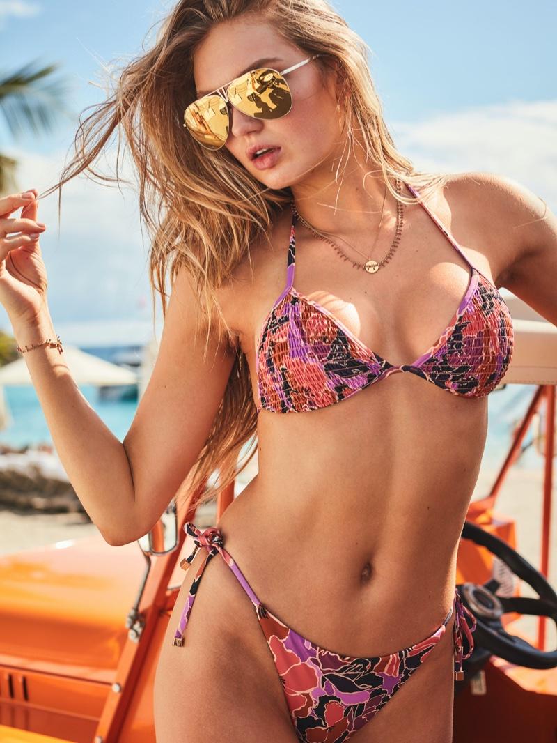 Romee Strijd poses in Victoria's Secret swimwear 2020 styles