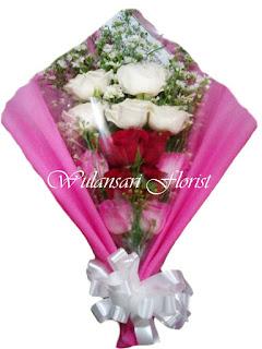 Buket Mawar putih dan pink