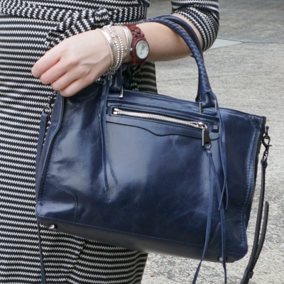 bracelet stack, JORD Cora wood watch, Rebecca Minkoff moon navy regan satchel bag | away from the blue