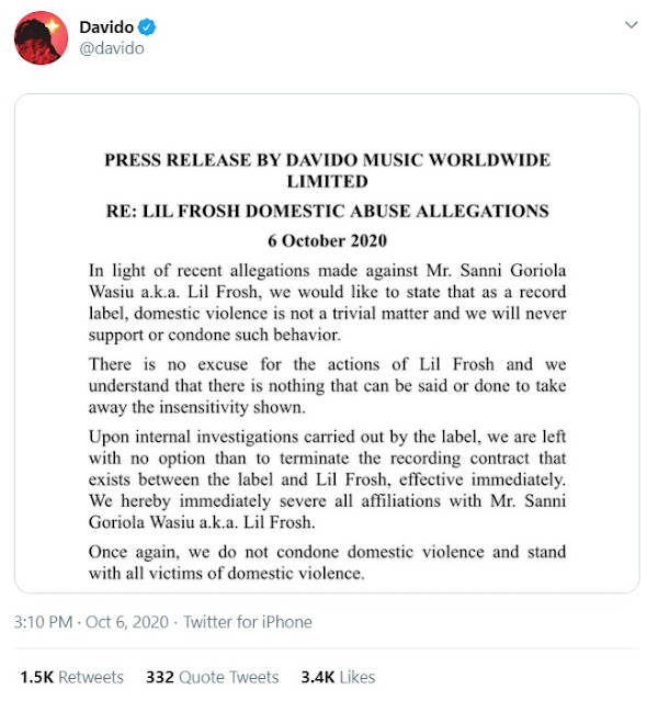 Alleged Domestic Violence: Davido terminates contract with Lil Frosh
