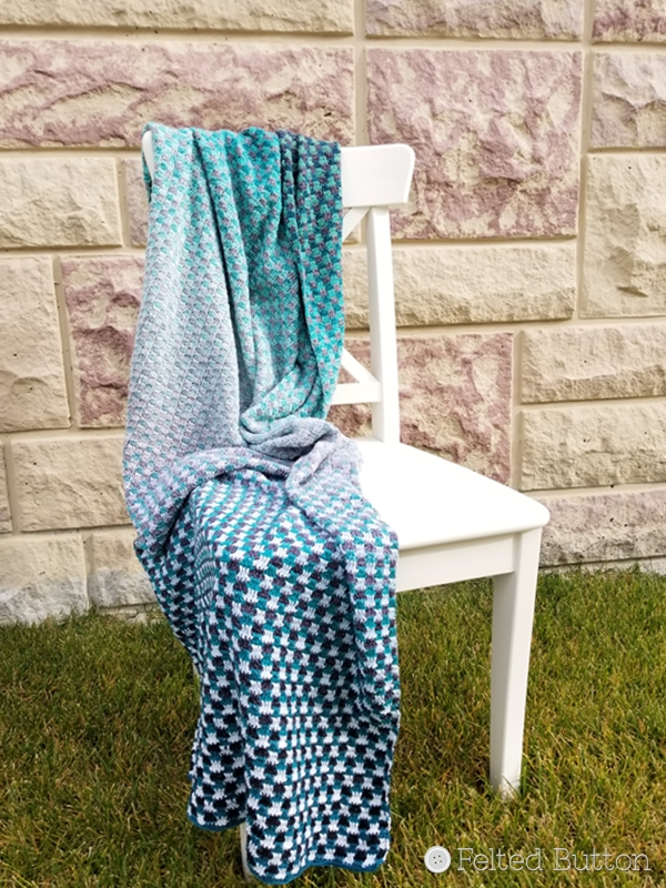 Trio Blanket (free crochet pattern) by Susan Carlson of Felted Button using 3 Scheepjes Whirls