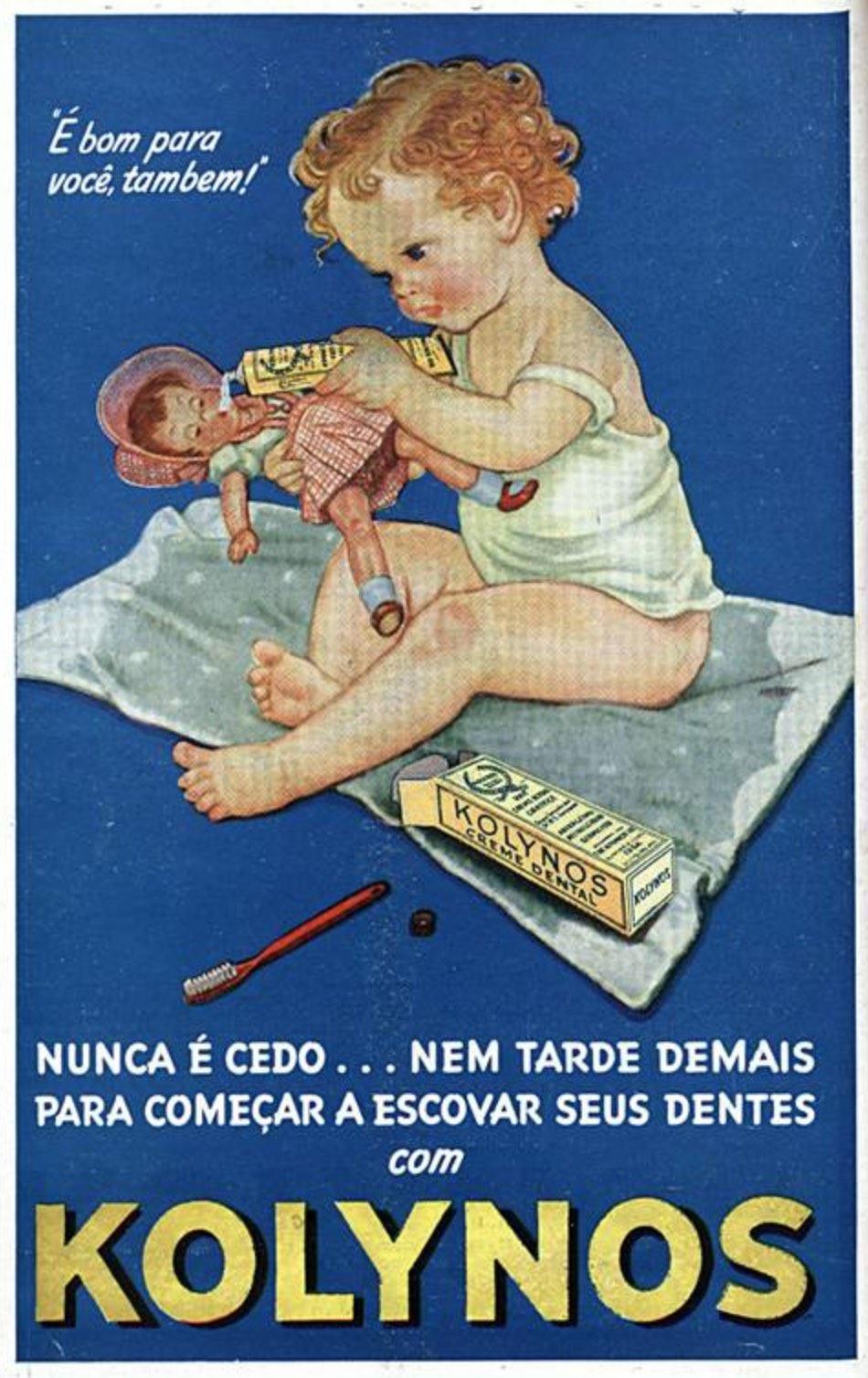 Propaganda antiga do creme dental Kolynos veiculada em 1943