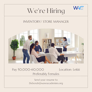 VACANCY ALERT - A RESTURANT IN VICTORIA ISLAND IS LOOKING TO HIRE AN INVENTORY/ STORE MANAGER.