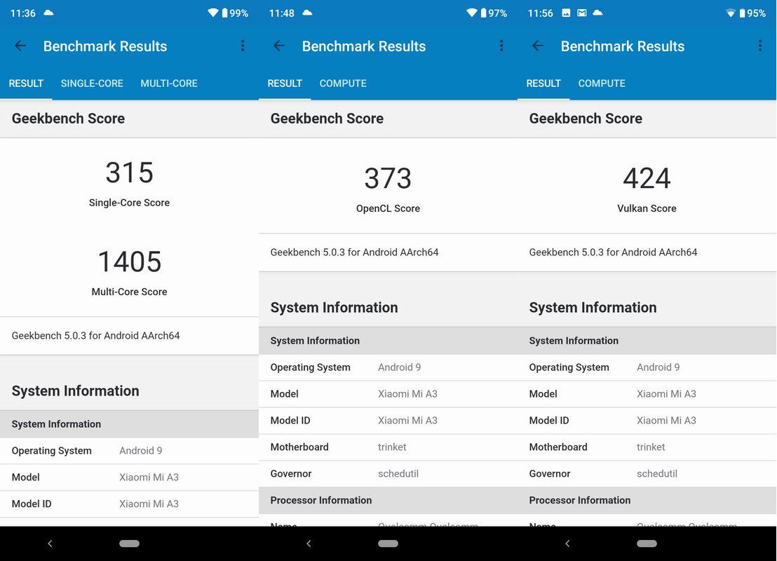 Benchmark Geekbench 5 Xiaomi Mi A3