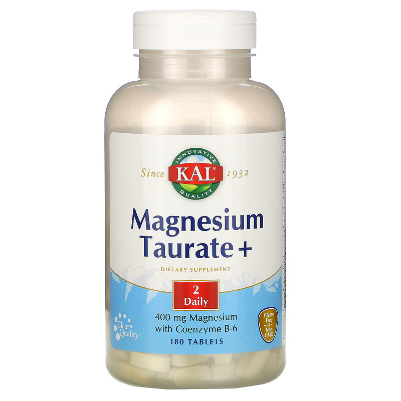 KAL, Magnesium Taurate +, 400 mg, 180 Tablets