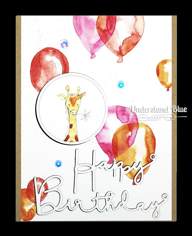 Giraffe birthday card featuring Alexandra Renke paper