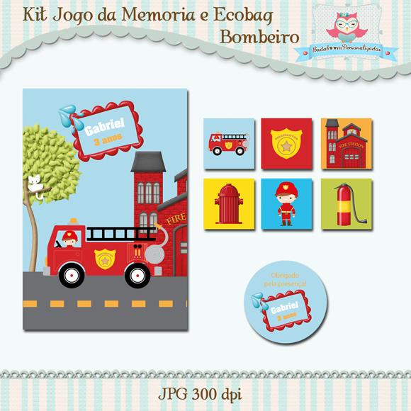 Arte digital, Kit digital, tags, ecobag, bombeiro, profissões, jogo da memória, personalizados, badaboom