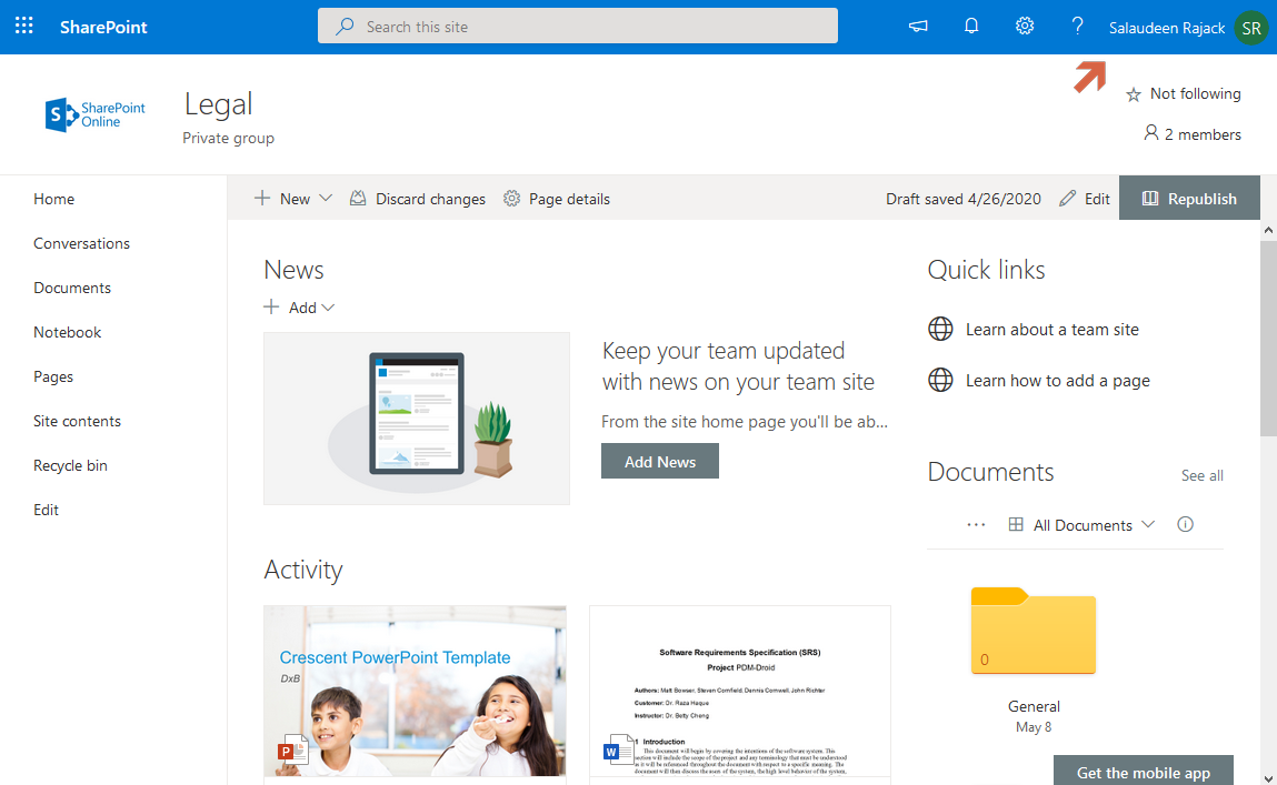 sharepoint online display user name in top navigation bar