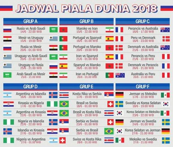 Hasil gambar untuk jadwal piala dunia 2018