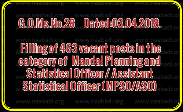GO 28 -  Filling of 463 vacant posts in the category of  Mandal Planning and Statistical Officer / Assistant Statistical Officer (MPSO/ASO) under the control of Director of Economics and Statistics