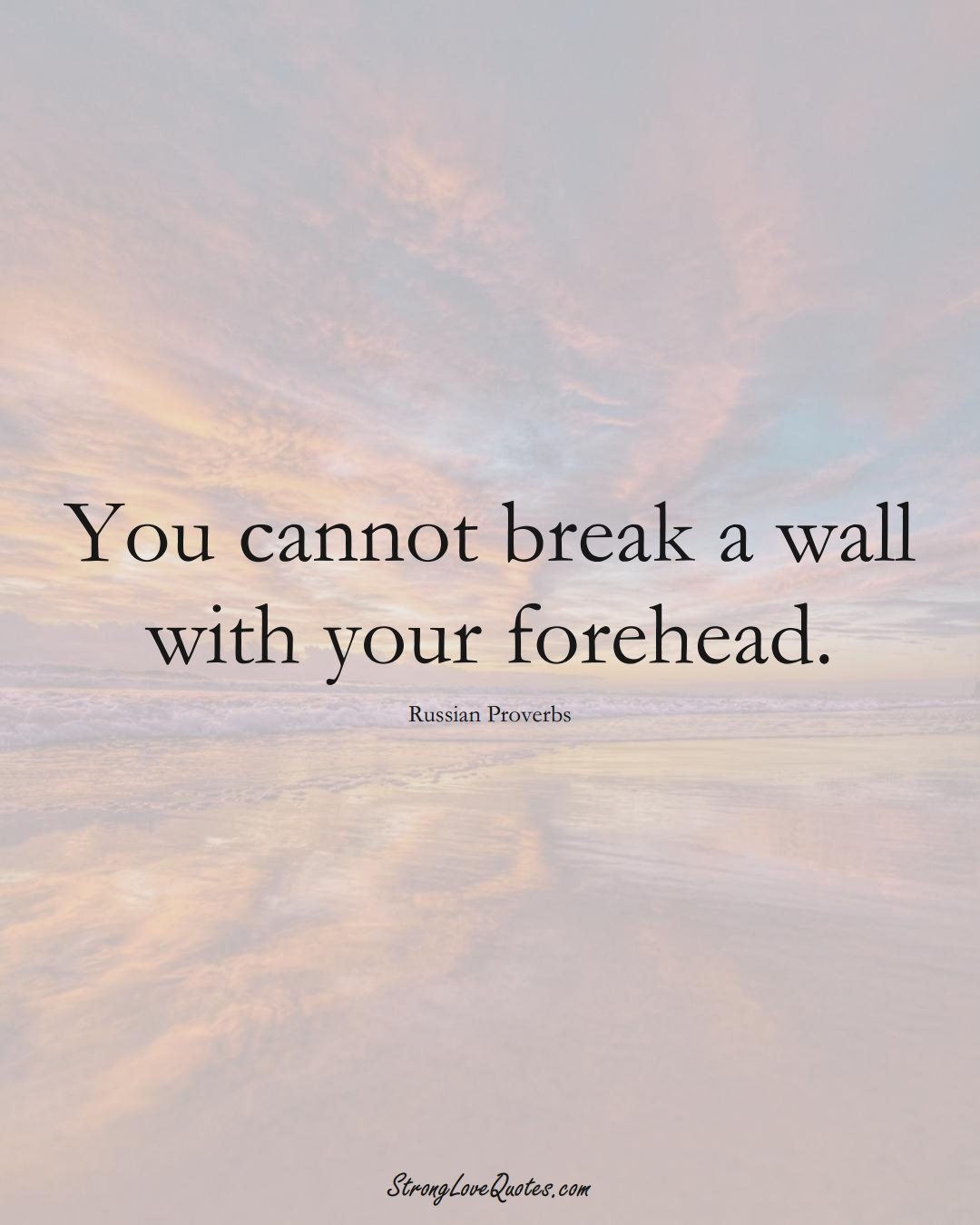 You cannot break a wall with your forehead. (Russian Sayings);  #AsianSayings