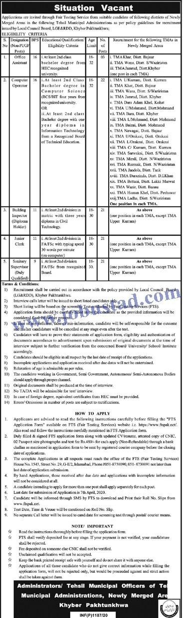 Jobs in Tehsil Municipal Administration TMA 2020