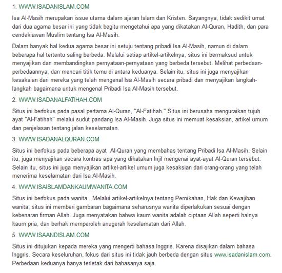Senarai laman web yang gunakan nama Isa dan Islam