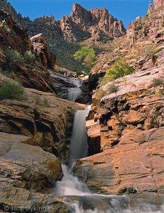 Cascading waterfalls in a rocky canyon. Tucson, AZ