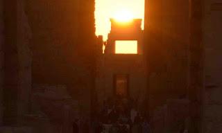 The sun falling perpendicular on Karnak temple