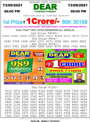 Nagaland Lottery Result Today 13.9.21