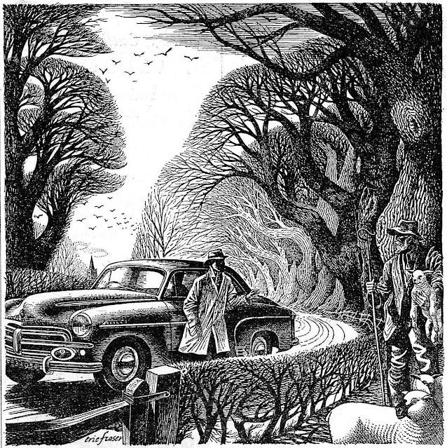 an Eric Fraser Illustration, asking directions