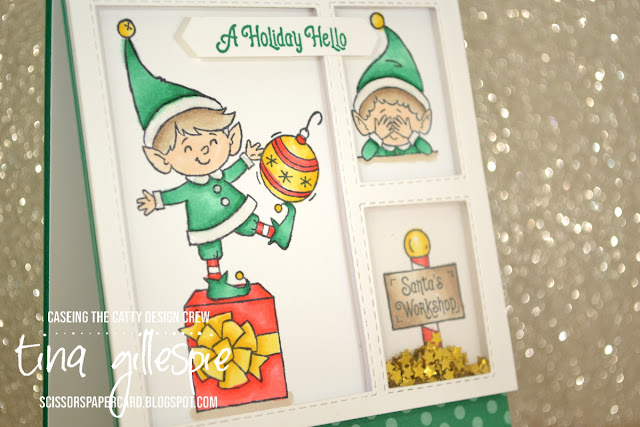 scissorspapercard, Stamping' Up!, CASEing The Catty, # Elfie, Stampin' Blends, In Colour DSP, Stitched Rectangle Dies, Shaker Card, Christmas