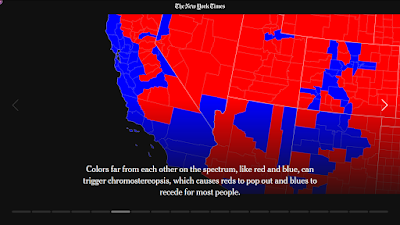 "Close-up of US election map in red and blue demonstrating how colours ""pop"" because of stereopsis."