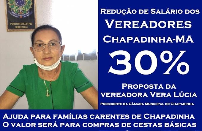 Presidente Vera Lúcia pede redução de salários dos vereadores; e dinheiro revertido para compras de cestas básicas para famílias carentes