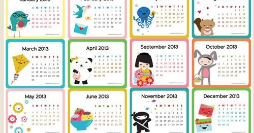 Free Printable 2013 Calendar For Kids ~ Parenting Times