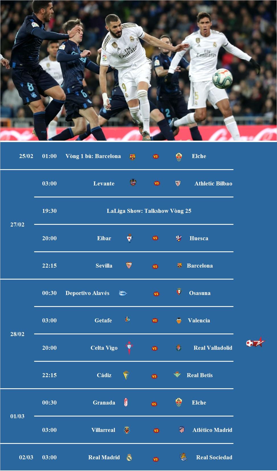 Đón xem vòng 25 La Liga 2020/21 trên VTVcab