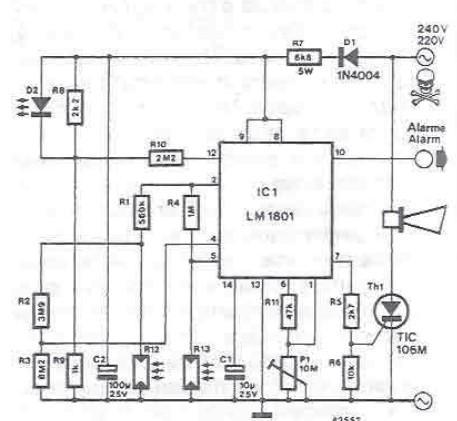 Schema circuit de projet électronique de détecteur de